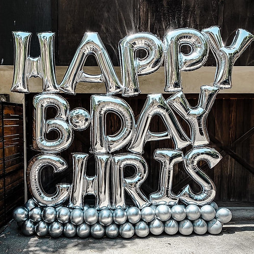 All Silver Birthday Balloon Letter Sculpture (For Shorter Names)