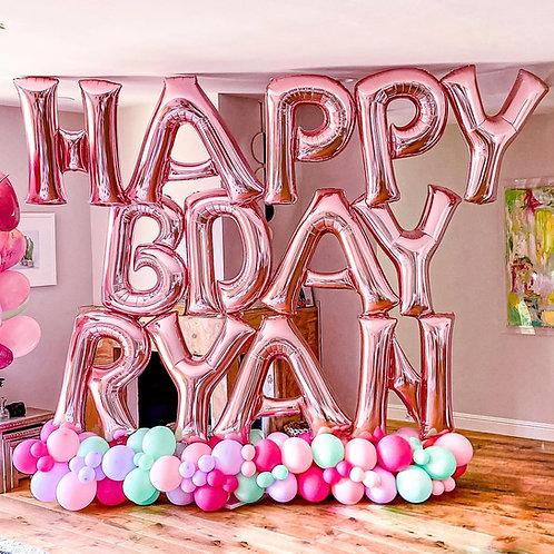 Happy Rose Gold Birthday Balloon Letter Sculpture (For Shorter Names)