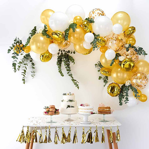 Gold-White Mini Garland w Greenery