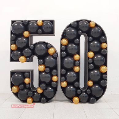 Number Balloon Mosaics - Black & Gold