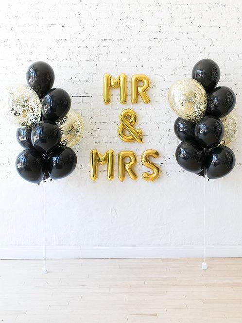 Mr & Mrs Balloon Set - Black/Gold