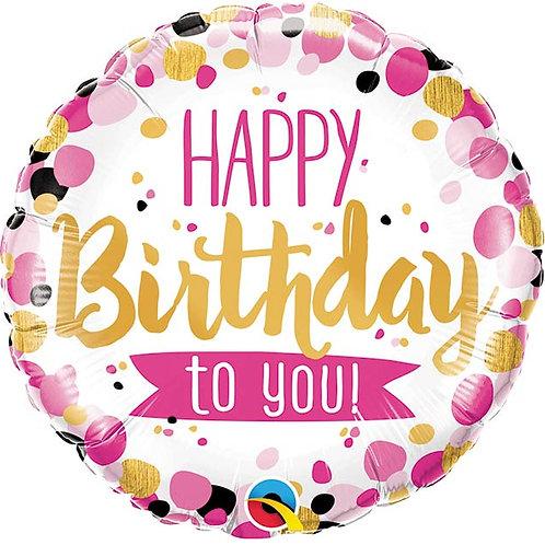 Pink Dots Birthday Foil