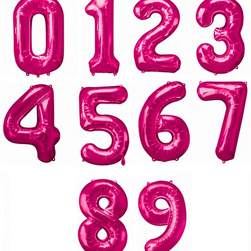 Pink Number Balloons (Large Size)