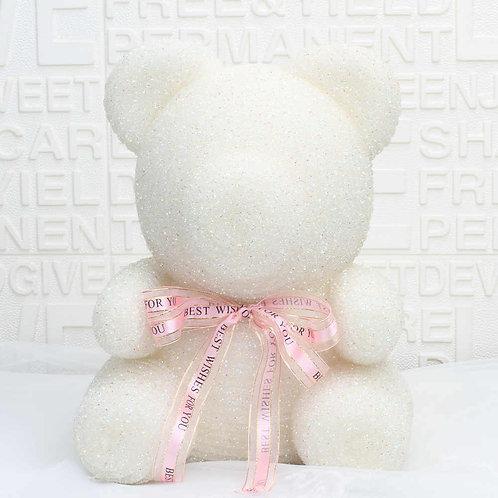 Crystal Diamond White Rose Bear (M)