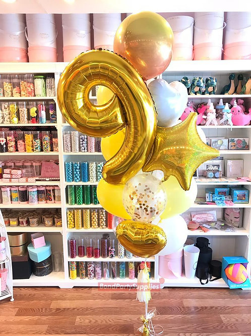 Number Birthday Bouquets - Gold/Yellow/White