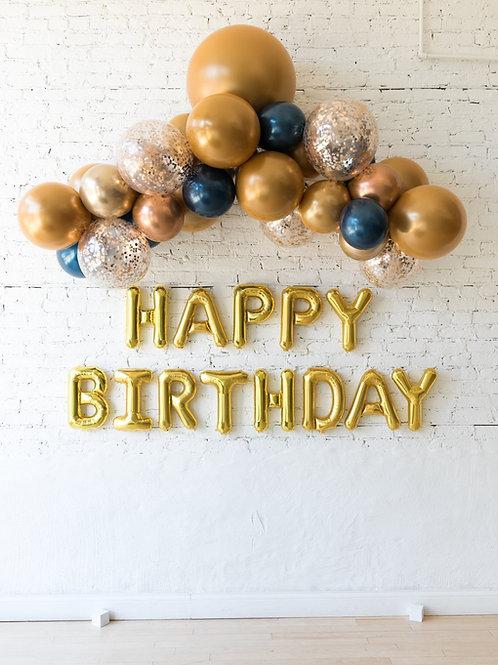 Gold, Copper, Chrome Blue Mini Balloon Garland + HB Banner