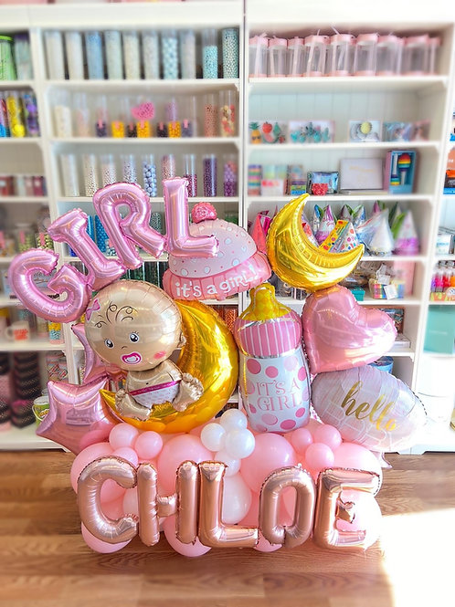 Signature Sculpture - Welcome Baby Girl + Name (Standart)