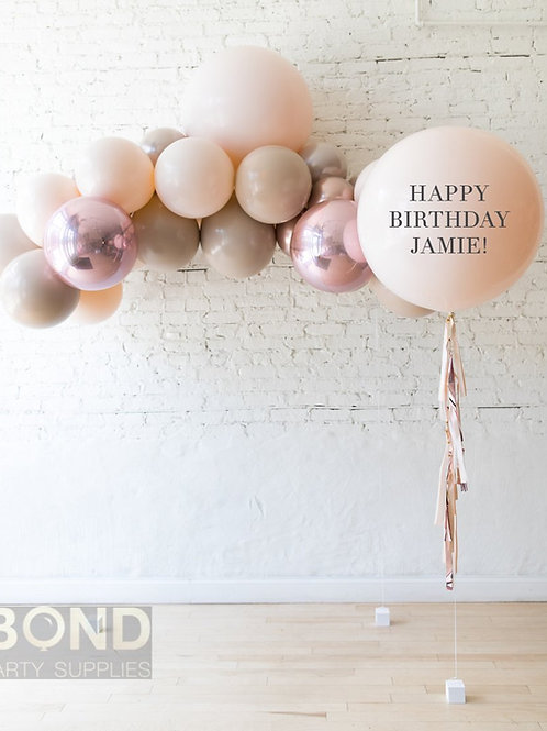 Glamour & Tan Mini Garland + Personalized Balloon