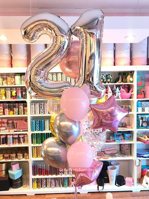 Number Birthday Bouquets - Silver/Pink/Rose Gold