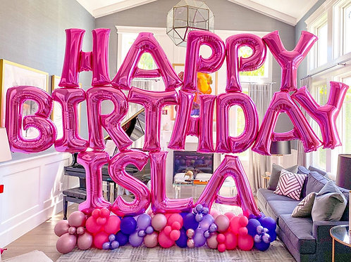 Hot Pink Birthday Balloon Letter Sculpture