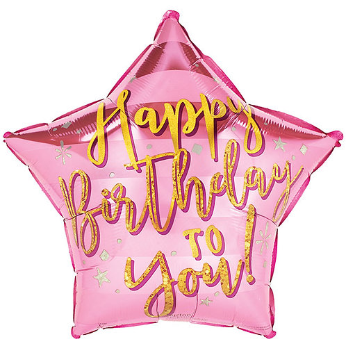 Pink/Gold Birthday Foil Star