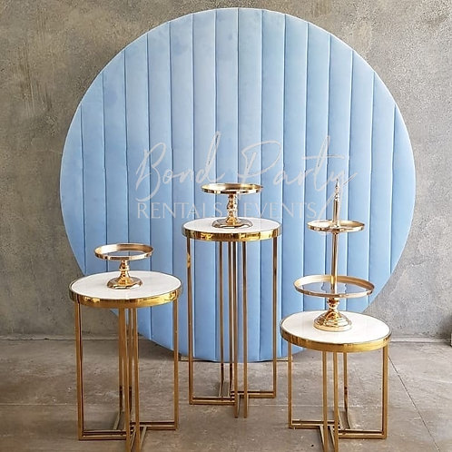Blue Velvet Backdrop / 3 Deco Pedestals