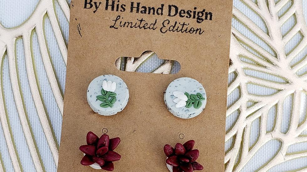 Succulent earring set