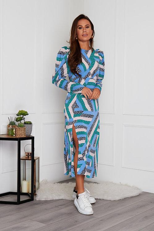 Victoria Puff Sleeve Patterned Midi Dress