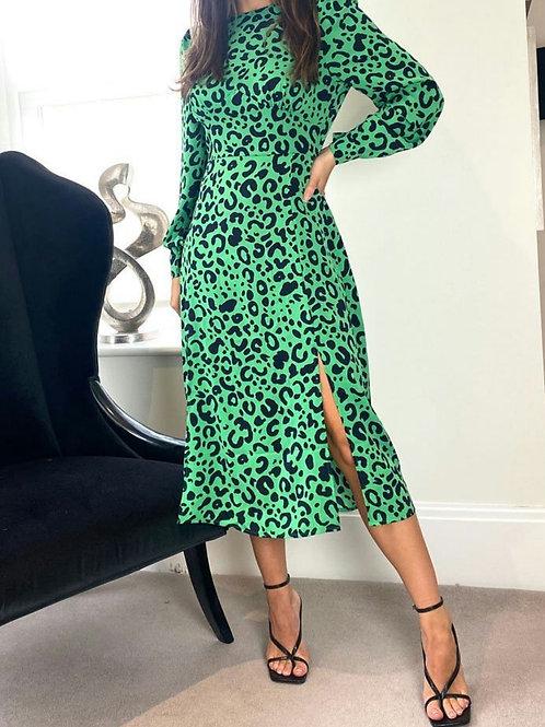 Tori Green Animal Longsleeve Midi Dress