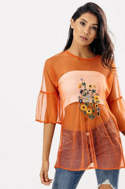 Waanita Orange Mesh Top