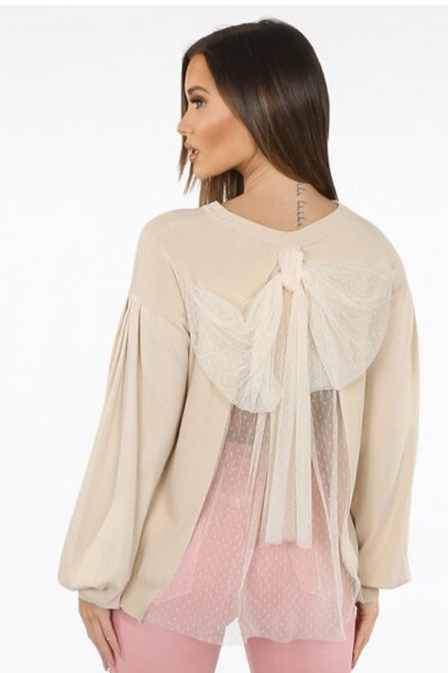 Polka Dot Mesh Back with Bow Jumper in Beige