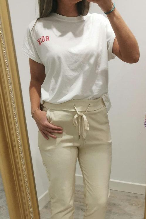 Farrah Plain Trousers in Beige