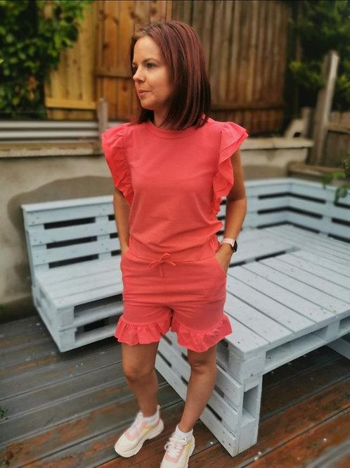 Grace Coral T-shirt & Shorts Two Piece Set