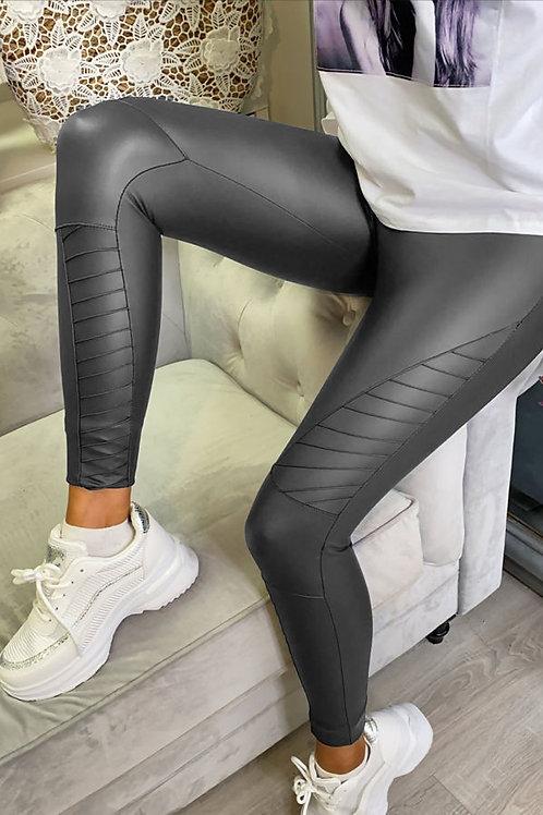 Kirsty Biker Faux Leather Leggings In Grey