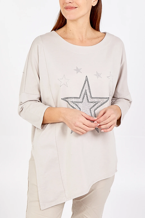 Claire Star Top in Stone
