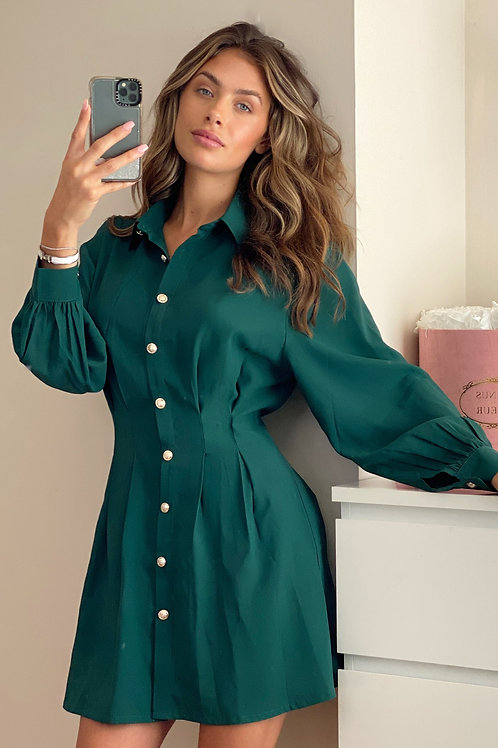 Tiana Pleated Waist Shirt Dress in Emerald Green