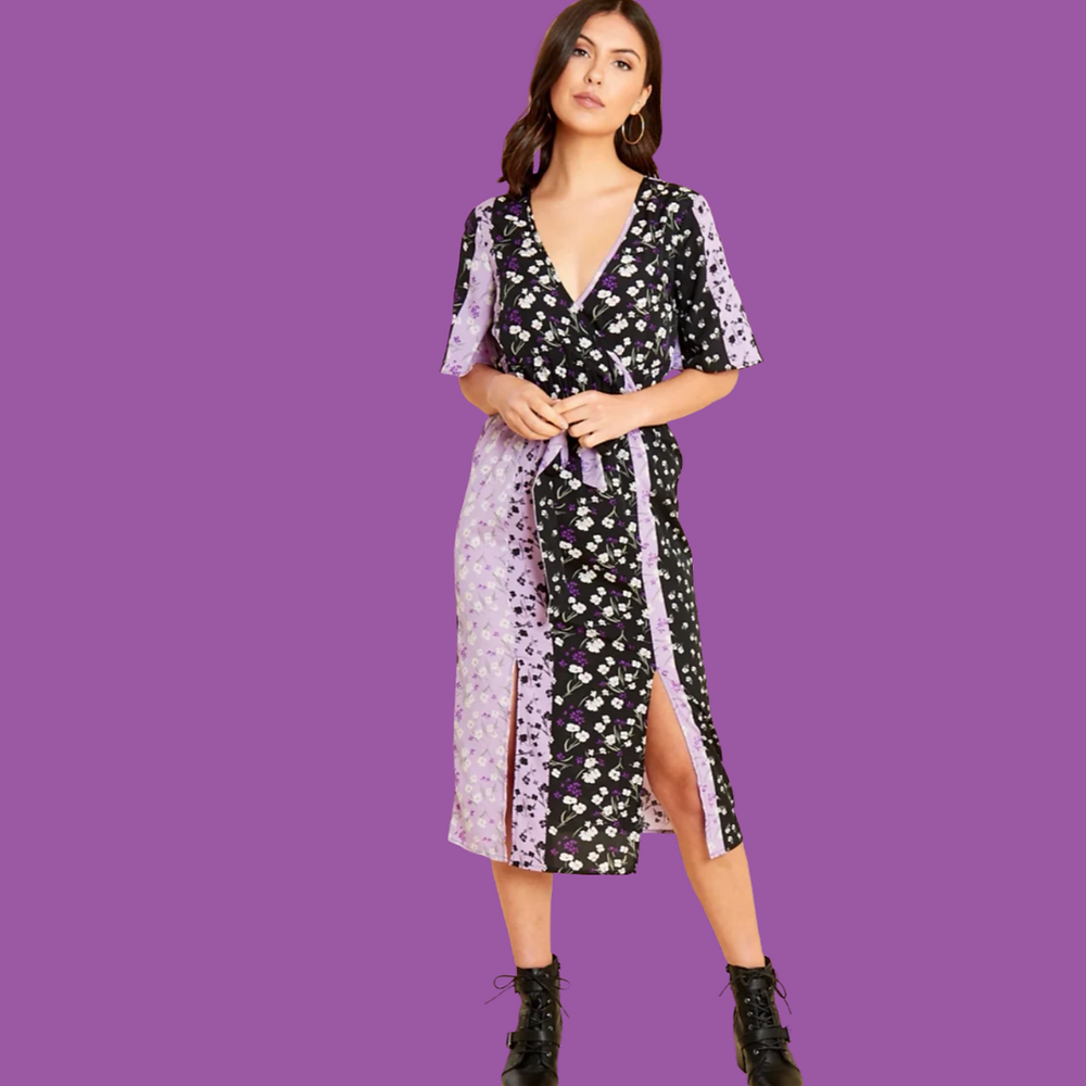 Carolyn Multi Patterned Floral Midi Dress Reduced Style Rack