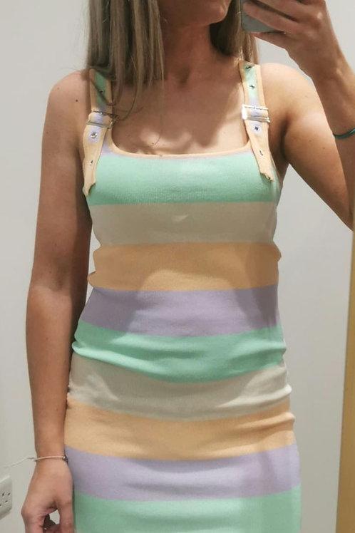 Hettie Stripe Pastels Mini Dress