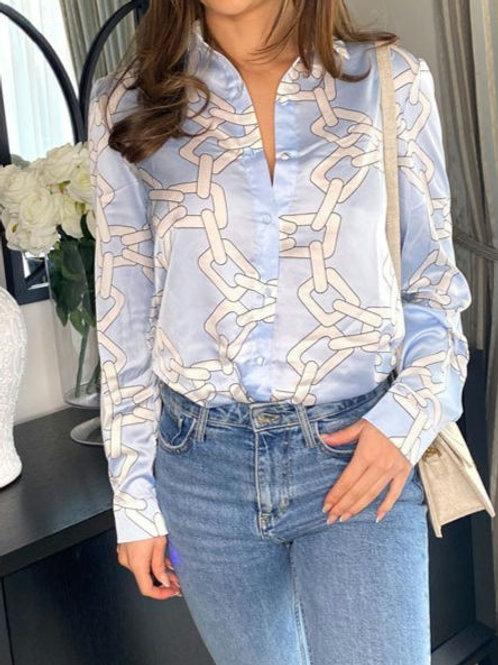 Sophia Light Blue Chain Shirt