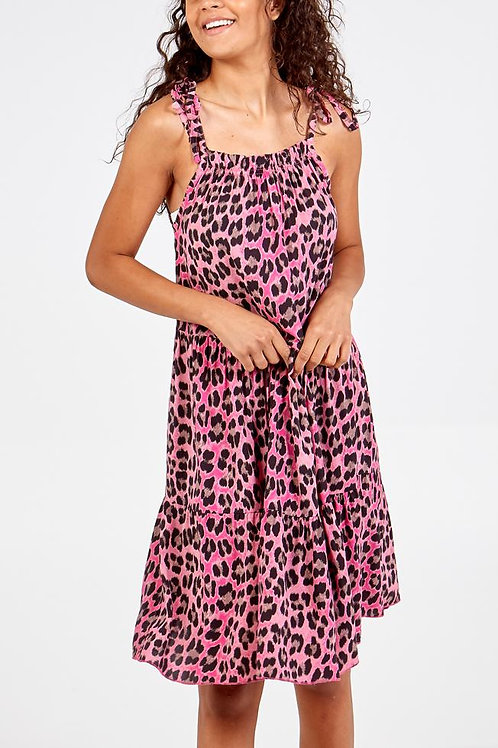 Elizabeth leopard print mini dress in Pink