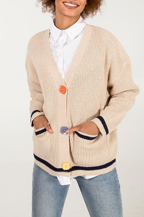 Annabelle Beige with Coloured Buttons Cardigan