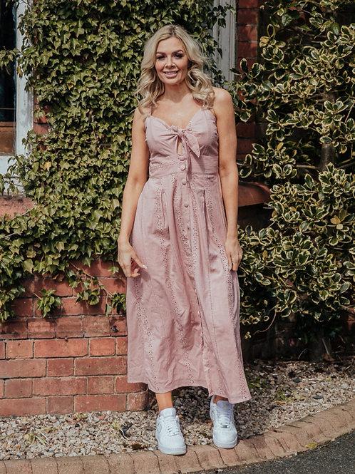 Suzie Summer Tie Front Midi Dress in Pink