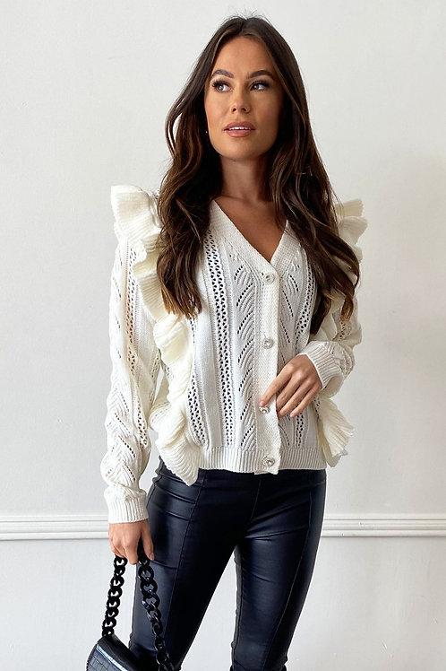 Jasmine Off White Diamonte Buttoned Frill Cardigan