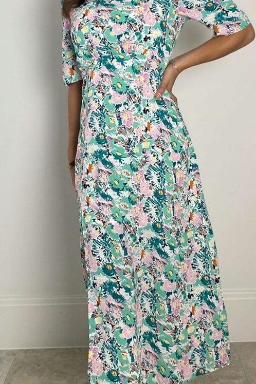 Henrietta Green Pink Floral Midi Dress