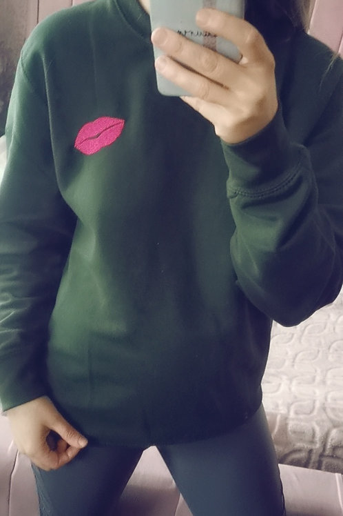 Luscious Lips Sweatshirt in Forest Green with Fuschia Pink Lips