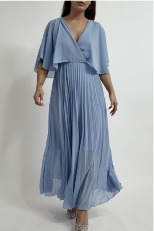 Orla Pleated Dress in Blue