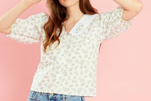 Marlie Floral Scalloped Collar Blouse