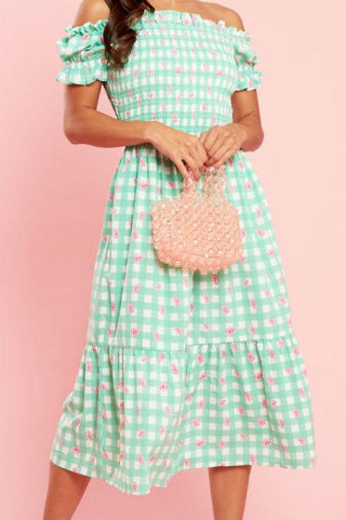 Zoe Green Check Bardot Midi Dress