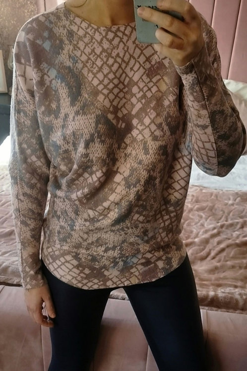Samantha Snakeskin Jumper in Pink