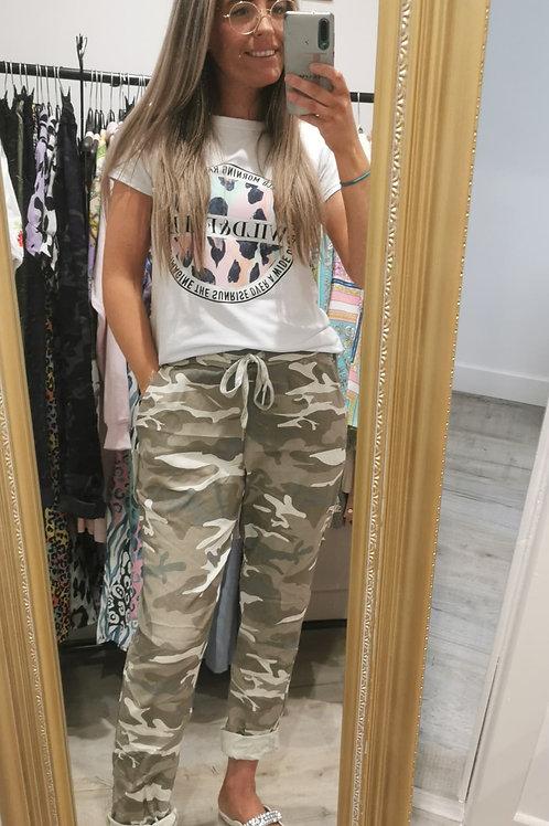 Zaria Camoflage Trousers  in Beige
