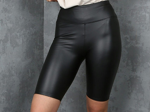 Tina Black Faux Leather Shorts