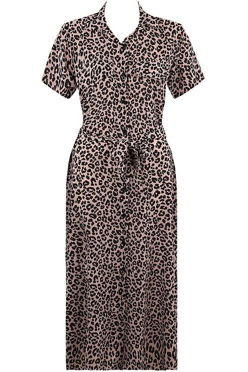 Ashleigh Pink Leopard Shirt Dress