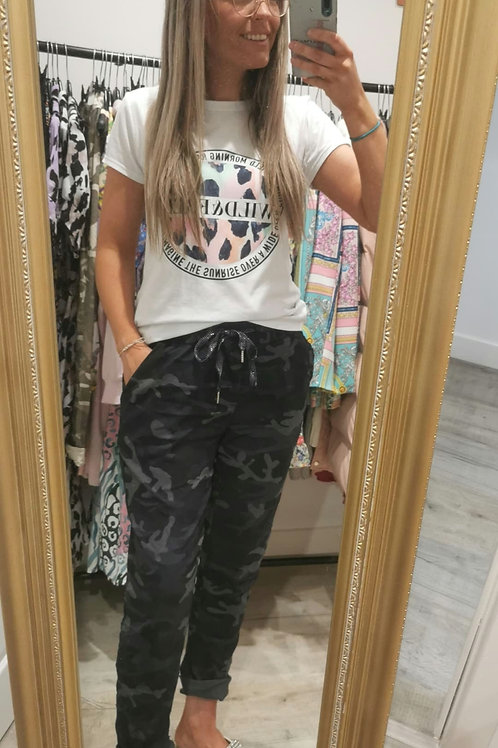 Zaria Camoflage Trousers in Navy