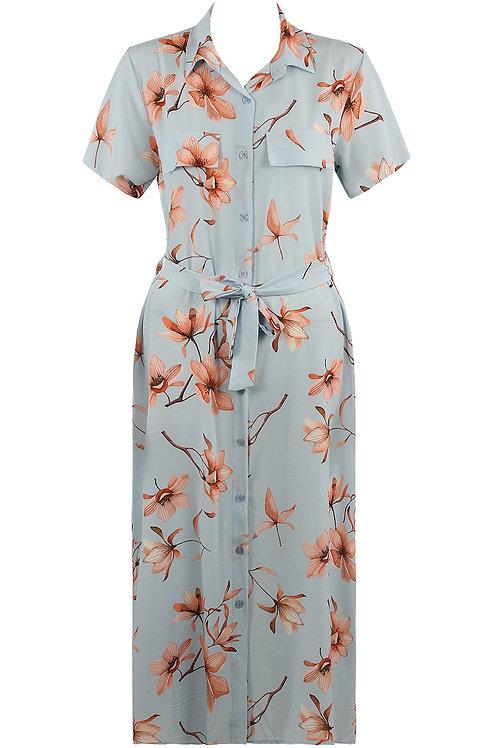 Jayne Blue Floral Shirt Dress