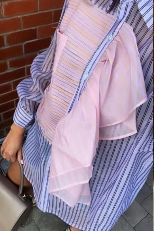 Lucinda Ruffle Blouse in Purple and Pink