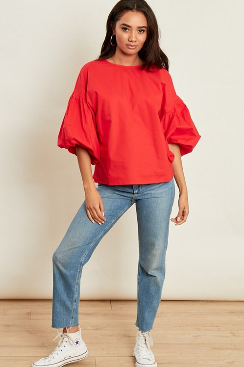 Harleigh Puff Sleeve Top in Red
