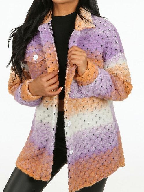 Rizo Lilac Crochet Shacket