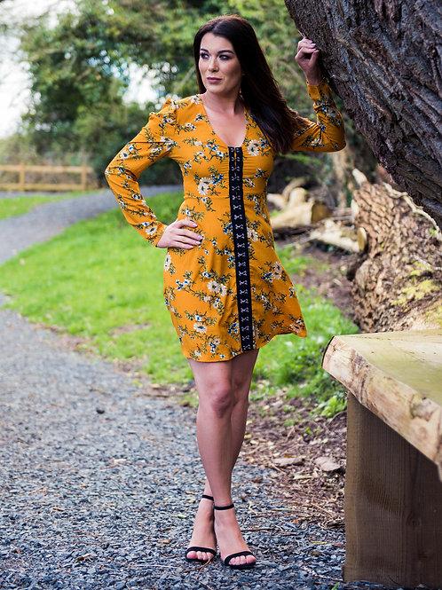 Mustard Floral Puff Sleeve Dress