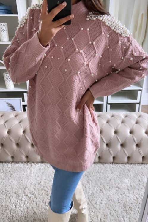 Molly Long Knit Pearl Jumper in Pink