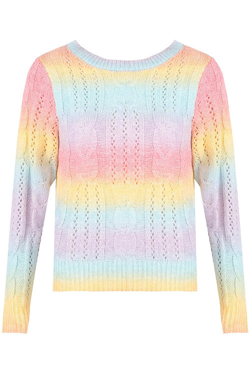 Rori Rainbow Cable Knit Jumper